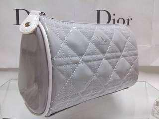 CHRISTIAN DIOR Cosmetic Makeup Quilted Cannage Pouch ※ Grey