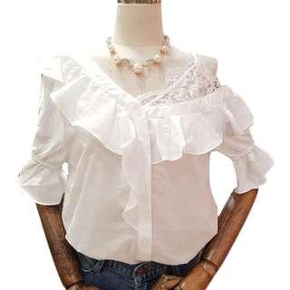 纯色拼接蕾丝吊带荷葉邊露肩短袖衬衫女