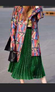 Green sparkly pleat skirt