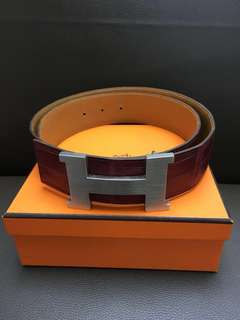 Hermes corco red leather belt