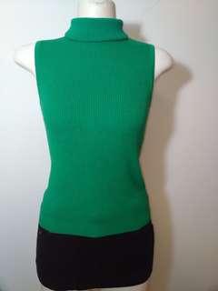 🚚 出清~港製 綠色 羅紋 高領 摺領 無袖 貼身 彈性 針織 上衣