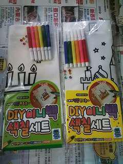 $20 DIY 填色環保袋 塗雅上色環保袋 DIY kids colour coloring bag 啟發兒童美術創意  幼童視覺藝術設計手挽袋 children diy hand bag