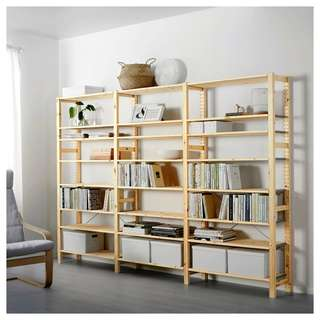 Ikea IVAR 3 section shelving unit, pine