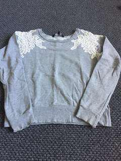 French Connection Grey Marle Sweatshirt - size S