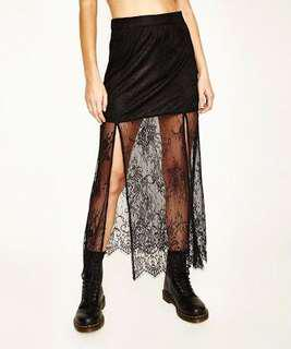 Neon Hart Floral Lace Skirt