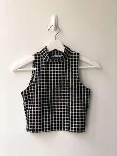 LULU & ROSE Black and White Checkered Top