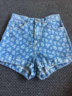 American Apparel Blue Denim Floral High-Waisted Shorts - size 28