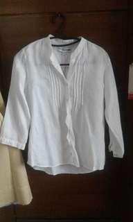 Uniqlo White Linen Blouse