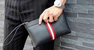 Bally men's leather clutch black