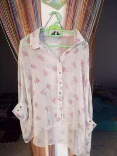 Batwing flower blouse
