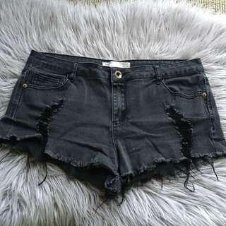 Faded Black Mini Shorts