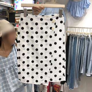 韩版百搭小清新波点单排扣包臀半身裙女中长款A字裙