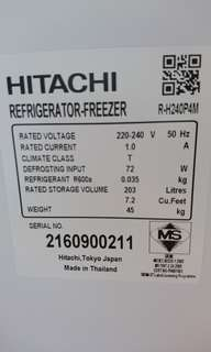 Hitachi fridge model R-H240P4M
