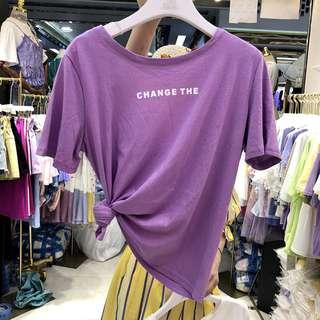 紫色顯瘦時尚纯色上衣 百搭露背短袖T恤女装