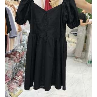 黑色 韩版复古氣質简约高腰顯瘦泡泡袖麻料娃娃连衣裙女装