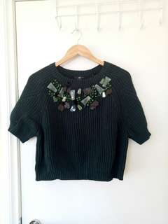 Cropped oversize knit
