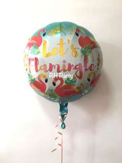 (18/6) include helium happy birthday lets flamingle flamingo aloha theme foil balloon
