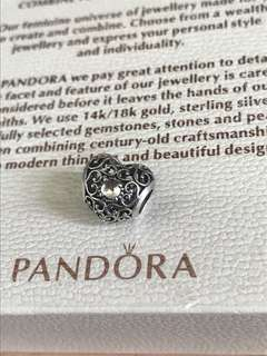 Pandora S925 April Silver Heart Charm with Rock Crystal