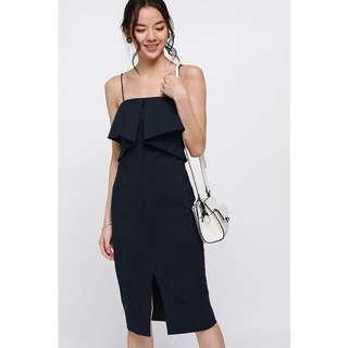 BNWT Miranna Ruffle Midi Dress Size M Navy