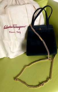 Salvatore Ferragamo Black Suede 2 way bag