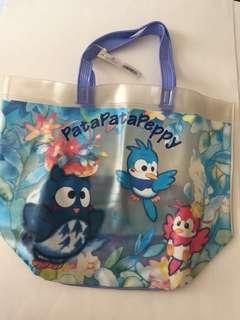 Sanrio vintage Patapatapeppy 透明tote bag 1994 約34cm