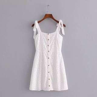 歐美白色連身裙