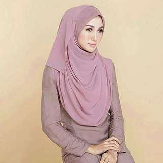 Tudung Ruffle chicnones - dusty pink