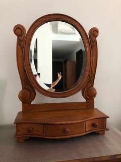 #Blessing Free Used Wooden Mirror with 3 drawers
