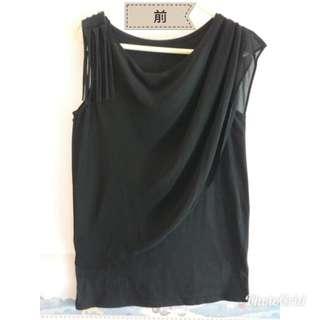 🔥全新Black Top. 🎉款式特别!穿起漂亮!背心是針織彈性料+背心面上是雪紡 ,size: 胸44cm~ 腳闊45~衫長66 現超平讓!如需郵寄,順豐到付