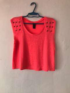 Studded Neon Loose Cropped Top