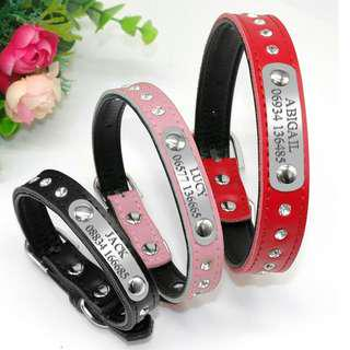 Personalized Engraved Rhinestone Leather Pet Collar For Small / Medium Dogs & Cats