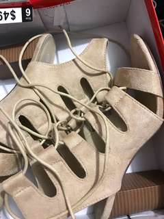 Ladies size 6 lace up heels