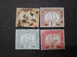 Hong Kong 1923-56 Postage Due 1c To 6c - 4v Mint & Used Stamps