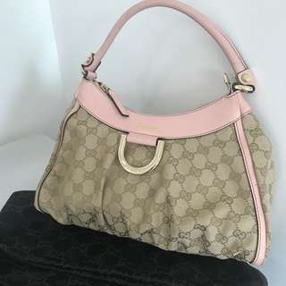 5333c0c2341 Authentic Gucci D-ring Abbey pink monogram bag