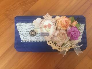 Blue decorated paper box