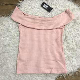 Glassons off shoulder ribbed top in blush pink size s 8