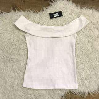 Glassons off shoulder ribbed top in white size s 8
