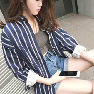 🚚 Oversized Blue and White Strip Outerwear