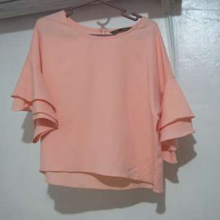 ForMe Blush Pink Bell Sleeves Blouse