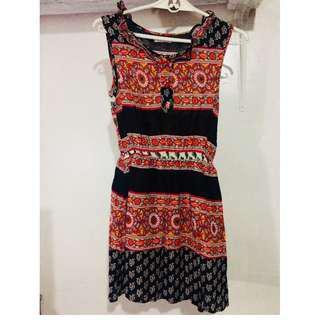 Jellybean Red & Black Printed Tunic/Short Dress
