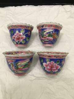 Vintage Peranakan 4 Tea Cups