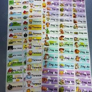 Waterproof Name Stickers
