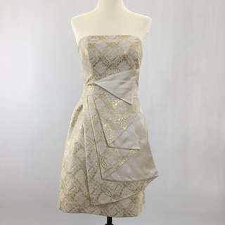 Forever New White and Gold Cocktail Dress