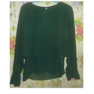 ZARA墨綠色雪紡上衣 59元 需先匯款 賣場59元二手衣、新衣任選6件300元(運費另+60)