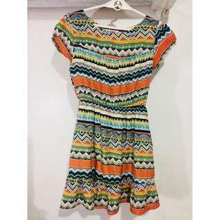 Jellybean Aztec Printed Dress