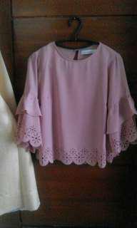Cottonink Laser Cut Pink Blouse
