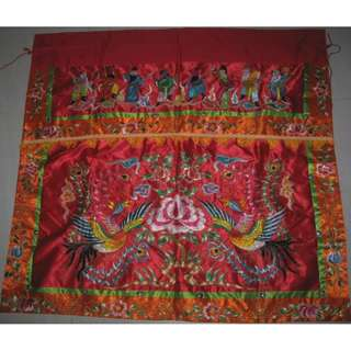 Eight Immortals tapestry with Double Phoenix table skirting