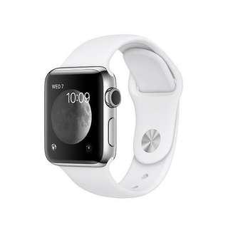全新未使用 Apple Watch 頂級不鏽鋼 S2 38mm 第二代 白色 智能手錶