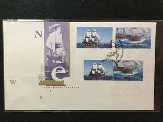 1995 Australia-Endeavour Replica First Day Cover With Both Vending Machine Folder (Booklet) Stamps (Top) And Normal Gummed Sheet Stamps (Below)