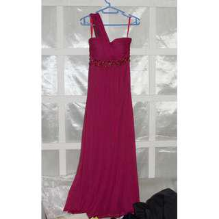 Magenta Prom Dress // Bridesmaid's Gown (One Shoulder)